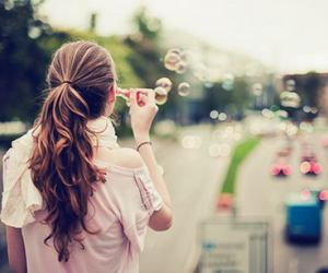 girl, bubbles, and hair image