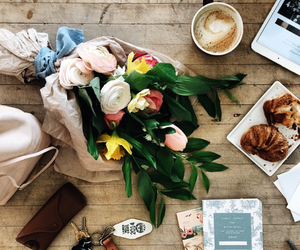 flowers, coffee, and food image