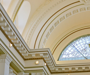 architecture, california, and ceiling image