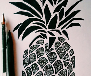 art, black, and pineapple image
