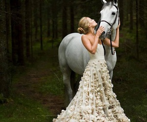 horse, dress, and wedding image
