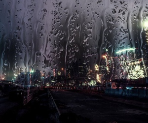 rain, city, and night image