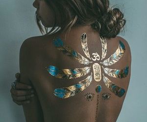girl, tattoo, and gold image
