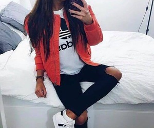 adidas, bed, and brunette image