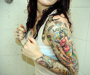 tattoo, girl, and shower image