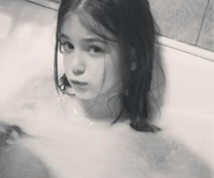 bath, child, and black and white image