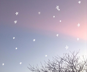 sky, pink, and stars image