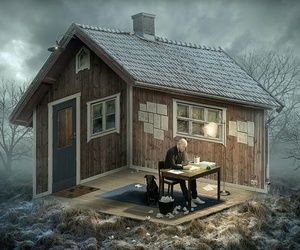 house, art, and illusion image