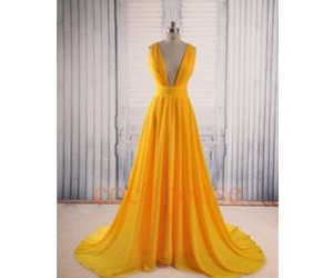 dresses, prom dress, and yellow image