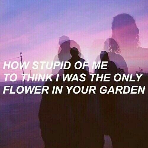 how stupid of me to think i was the only flower in your garden💔💔😪