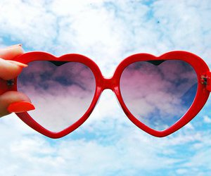 heart, sunglasses, and sky image