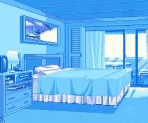 blue, bedroom, and pixel image