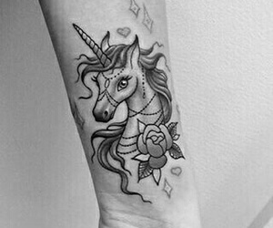 tattoo, unicorn, and color image