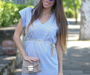 fashion blogger, striped dress, and outfit image