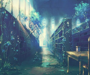 library, book, and anime image