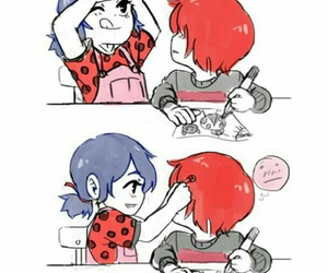 miraculous ladybug, nathaniel, and marinette image