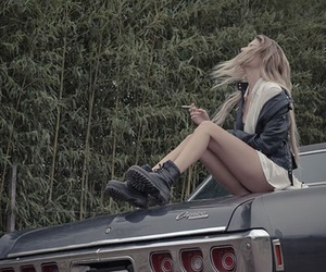 girl, car, and cigarette image