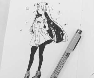 anime, girl, and sketch image