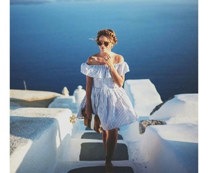 dress, sea, and travel image