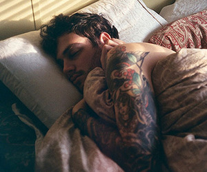 tattoo, boy, and sleep image