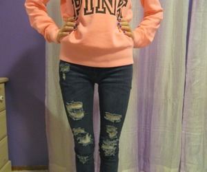girl, pink, and jeans image