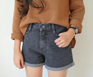 brunette, denim, and denim shorts image
