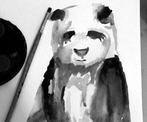 art, black and white, and panda image