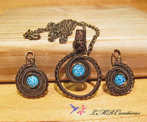 etsy, earring necklace set, and wire wrapped jewelry image