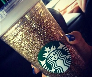 starbucks, glitter, and gold image