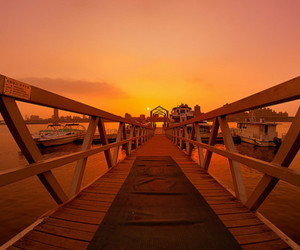 bridge, landscape, and sunset image