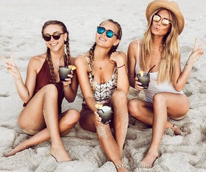 friends, beach, and drinks image