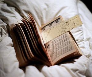 book, vintage, and bed image