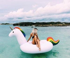 float, unicorn, and beach image