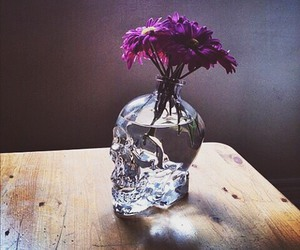 flowers, skull, and purple image