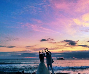 bae, beach, and just married image