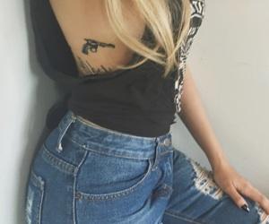 girl, tattoo, and gun image