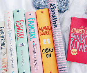 books, carry on, and rainbow rowell image