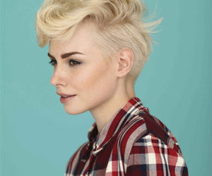 blonde hair, hair, and haircut image