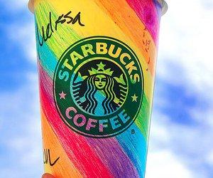 starbucks, coffee, and rainbow image