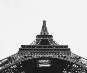 black and white, eiffel tower, and france image