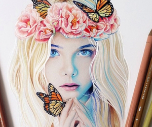 blond, blue eyes, and butterflies image