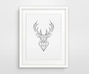 origami deer, geometrical print, and geometric animal image