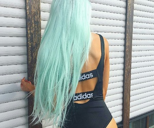 hair, adidas, and blue image