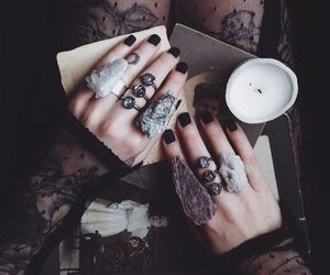 rings, dark, and tattoo image