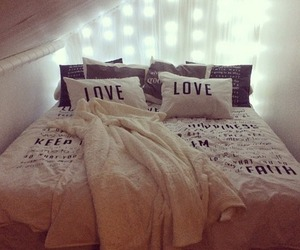 love, bed, and home image