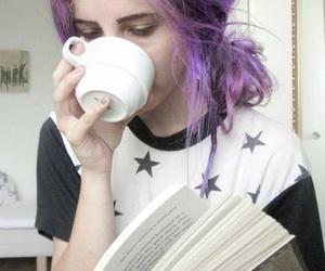 book, purple, and coffee image
