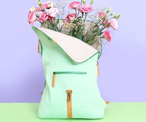 flowers, bag, and purple image