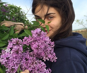 girl, flowers, and icon image