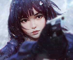 art, girl, and gun image