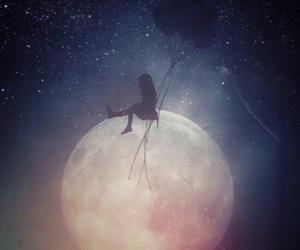 stars, balloons, and girl image
